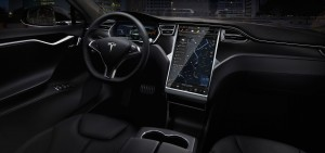 Tesla luxury sedans interior driver panel